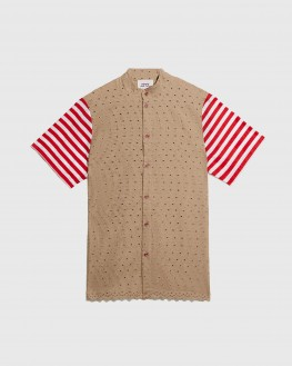 Modren Beige and Striped Sleeves Shirt
