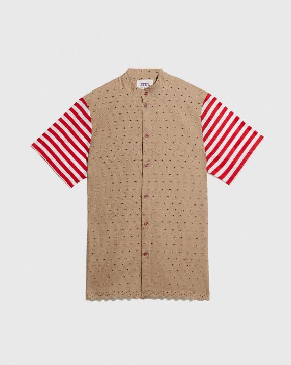 Modren Beige and Striped Sleeves Shirt